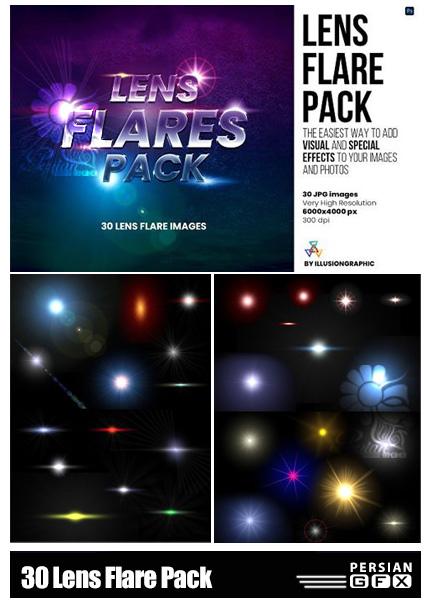 دانلود 30 تصویر پوششی افکت انشار نور و لنز فلر - Lens Flare Pack