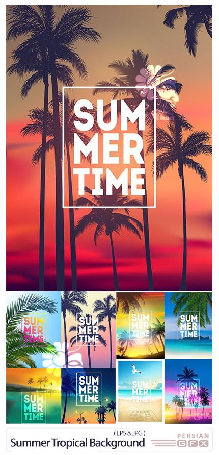 دانلود وکتور بک گراندهای تابستانی با برگ درخت نخل و غروب آفتاب - Summer Tropical Background