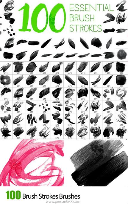 دانلود 100 براش استروک و خطی برای طراحی در فتوشاپ - Brush Strokes Brushes