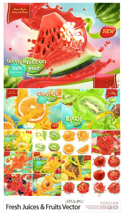 دانلود وکتور طرح های تبلیغاتی میوه های تازه و آبمیوه - Fresh Juices And Fruits