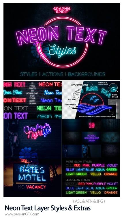 دانلود اکشن و استایل فتوشاپ ساخت متن نئونی - Neon Text Layer Styles & Extras