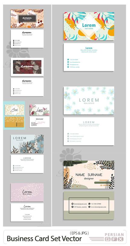 دانلود وکتور کارت ویزیت با طرح های گلدار فانتزی - Business Card Set Vector Illustrations