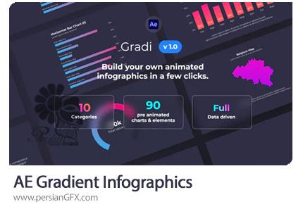 دانلود پروژه افترافکت نمودارهای اینفوگرافیک با گرادینت رنگی - Gradient Infographics
