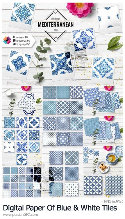 دانلود پترن کاشی کاری اسلیمی سفید و آبی - Digital Paper Of Blue And White Tiles