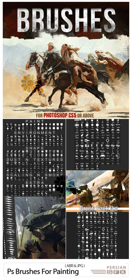 دانلود پک براش های نقاشی فتوشاپ - Huge Collection Of Photoshop Brushes For Painting
