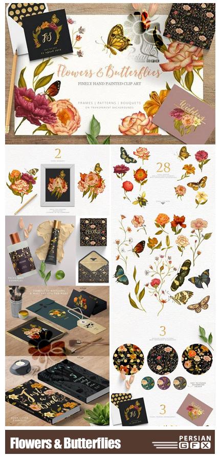 دانلود کلیپ آرت عناصر طراحی گل و پروانه شامل فریم، بک گراند، پترن و ... - Flowers And Butterflies Clipart