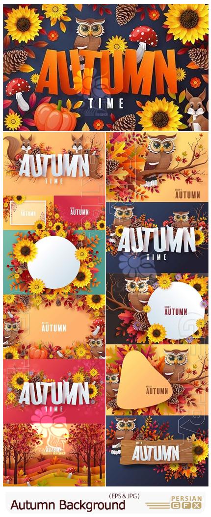 دانلود وکتور بک گراند پاییزی با برگ های رنگی - Autumn Vector Background With Colorful Leaves
