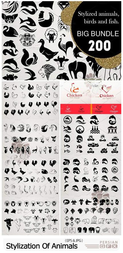 دانلود وکتور طرح های لیزری حیوانات مختلف - Stylization Of Animals Fish Birds