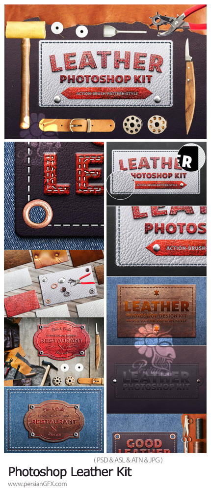 دانلود کیت فتوشاپ ساخت متن و اشکال چرمی - Photoshop Leather Kit