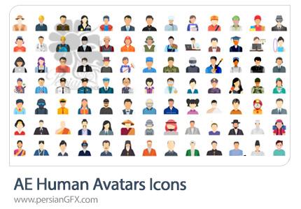 دانلود 100 آیکون متحرک آواتار انسانی در افترافکت به همراه آموزش ویدئویی - Human Avatars Icons