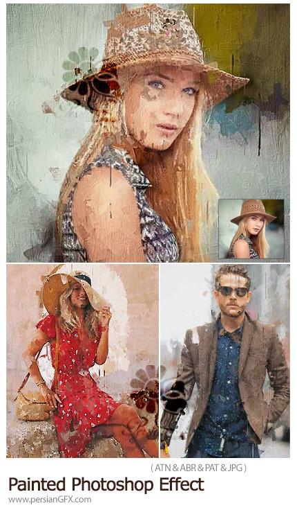 دانلود اکشن فتوشاپ ساخت نقاشی هنری حرفه ای - Painted Photoshop Effect