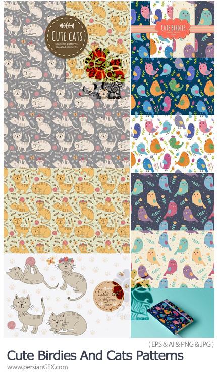 دانلود پترن وکتور طرح های کارتونی گربه و پرنده - Cute Birdies And Cats Patterns