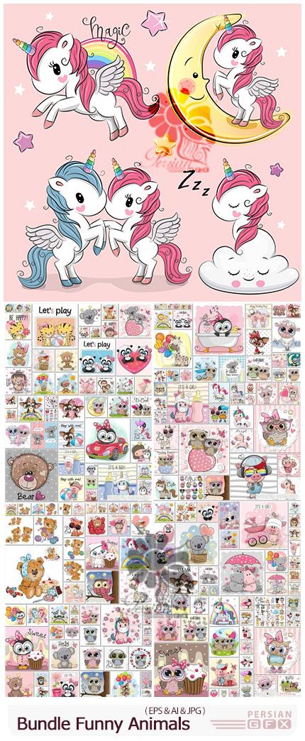 دانلود 200 وکتور طرح های کارتونی حیوانات برای کارت پستال - Bundle Funny Animals