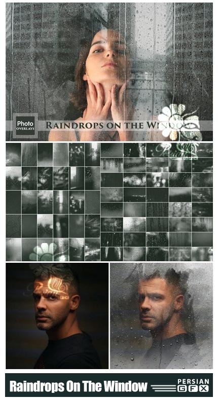 دانلود 70 تصویر پوششی قطرات باران روی پنجره به همراه براش فتوشاپ - Raindrops On The Window Overlays