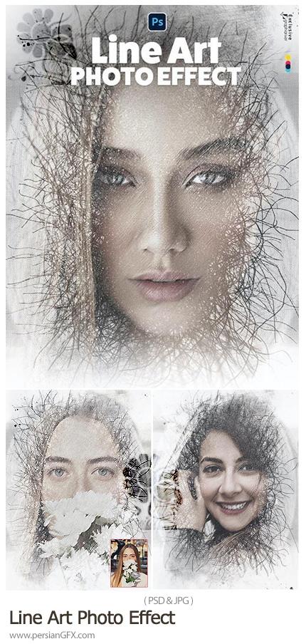 دانلود قالب لایه باز ساخت تصاویر هنری خطی - Line Art Photo Effect