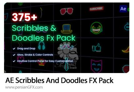 دانلود پک المان های دودل و اشکال خطی نئونی برای ساخت موشن گرافیک در افترافکت به همراه آموزش ویدئویی - Scribbles & Doodles FX Pack