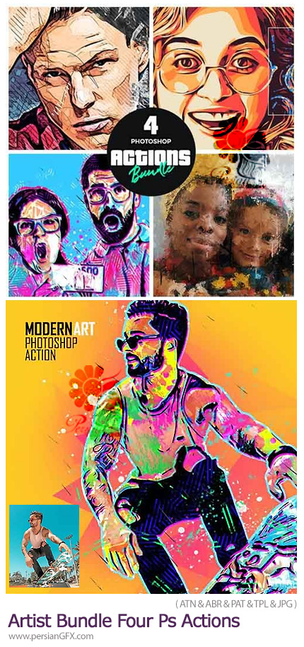 دانلود مجموعه اکشن فتوشاپ با 4 افکت هنری متنوع - Artist Bundle Four Photoshop Actions